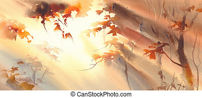 sun rays in the golden forest watercolor - Sunny forest with...