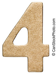 4, four, numeral from cardboard, isolated on white...