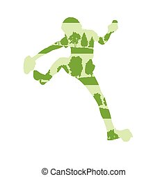 Woman rock climber vector background concept made of forest...