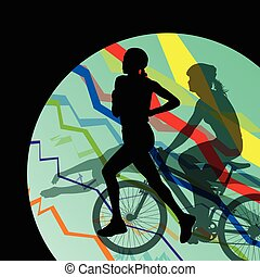 Triathlon marathon men swimming cycling and running sport silhouettes collection vector abstract background