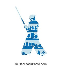 Kendo fighter with shinai vector background concept made of...