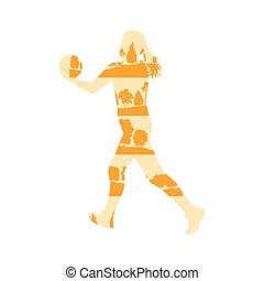 Volleyball woman player vector background concept made of...