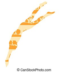 Swimmer start vector background concept made of forest trees fragments isolated