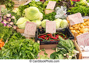 Salad and vegtables for sale at a market in Palermo, Sicily