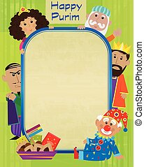 Purim Characters Sign - Happy Purim blank sign with the...