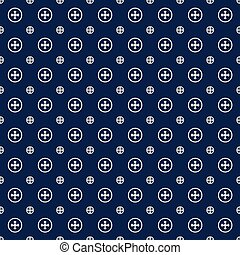 Seamless background image of navy blue cross round pattern.
