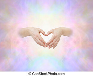 Sacred heart hand sign - Female hands with thumbs and...