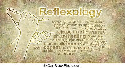 Rustic Reflexology Word Cloud Banner - Outline illustration...