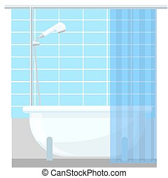 Bathroom interior poster or promo flyer bathtub in the house vector illustration.