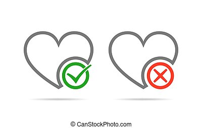 Hearts with Yes and No check marks illustration.