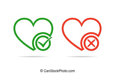 Hearts with Yes and No check marks. Vector illustration.