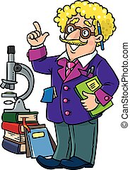 Funny scientist or inventor. Profesion ABC series