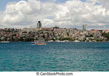 Beyoglu viewed from the Bosphorus, Istanbul - View of the...