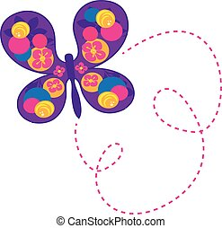 butterfly vector with flowers - It is a vector illustration...
