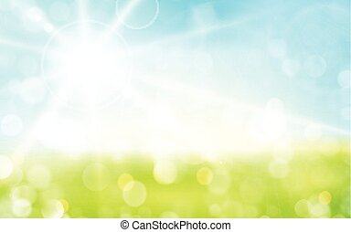 Light green, blue spring background with sun shine and blurry light dots.