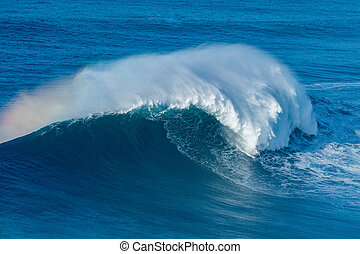 Wave breaking in Nazare - A huge wave breaking in Nazare,...