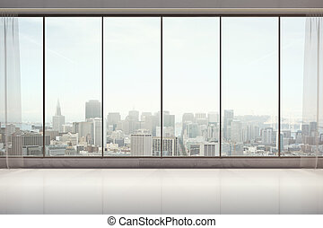 Unfurnished interior with city view - Unfurnished interior...
