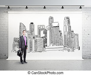 Man in room with city sketch - Thoughtful businessman in...
