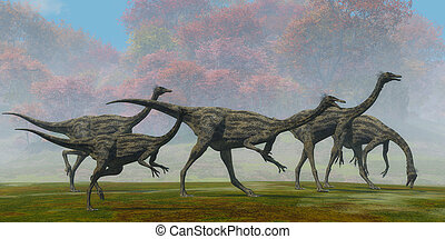 Gallimimus Dinosaur Fall Day - A flock of Gallimimus...