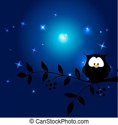 cute owl in the night sitting on branch - vector illustration