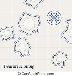 Vector Treasure Map Background - Treasure paper map with...
