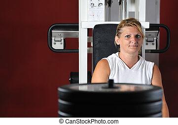 Travail, femme, dehors, mûrir,  Fitness