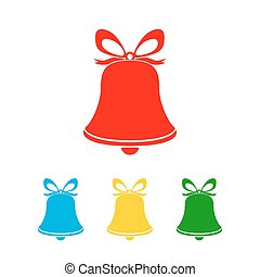Hand bell icon. Vector illustration. - Set of christmas hand...