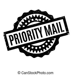 Priority Mail rubber stamp. Grunge design with dust...