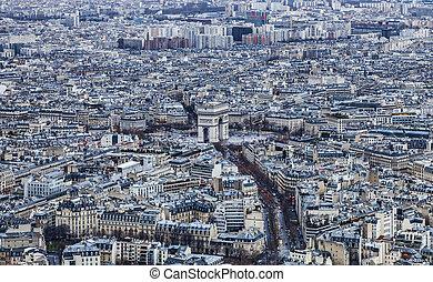 Paris - Triumphal Arch - Aerial view of the Triumphal Arch...