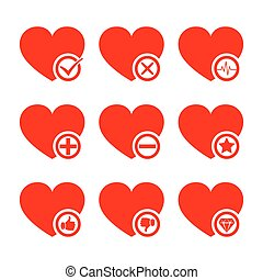Set of red conceptual hearts. Vector illustration.