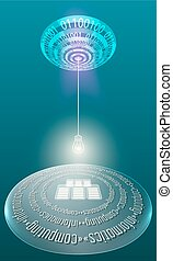 Futuristic abstract background with binary code and the...