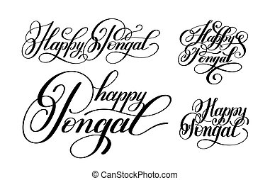 happy pongal handwritten ink lettering set inscription to...