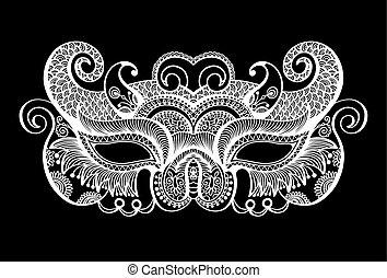 black lineart venetian carnival mask silhouette, vector...