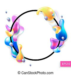 abstract bright colorful plasma drops shapes with a black circle