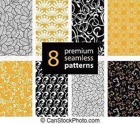 Vector Set of Black, White and Gold Yellow Abstract Trendy Seamless Repeat Patterns. Great For Fabric, Wrappring Paper, Wallpaer, Scrapbooking.