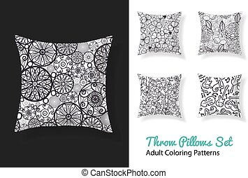 Vector adult coloring patterns prints on a set of throw pillows in black and white. Great as home decor and art activity.