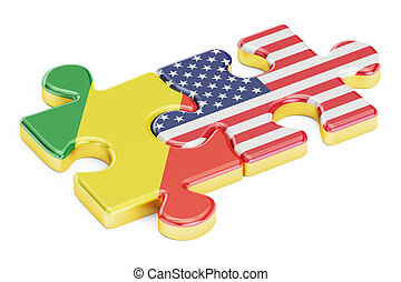 USA and Congo puzzles from flags, 3D rendering isolated on...