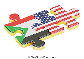 USA and Sudan puzzles from flags, 3D rendering isolated on...