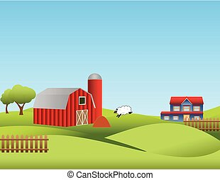 Farm with rolling hills - Farm landscape with rolling hills