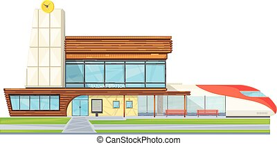 Modern Railway Station Flat Front View - Modern steel glass...