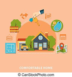 Real Estate Concept - Colorful real estate concept with...