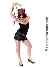 Halloween devil woman cross