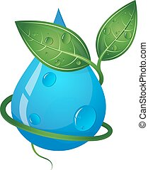 Drop of water and green leaves eco symbol