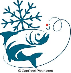 Fish winter fishing vector - Winter fishing, fish and...
