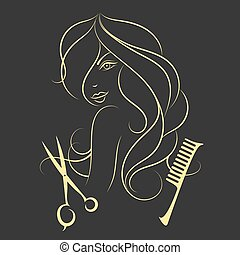 Girl with long hair beauty salon, scissors and comb