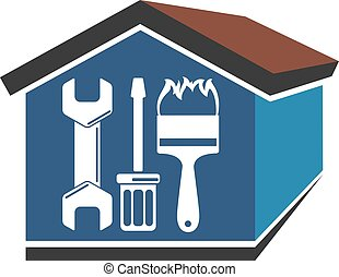 Repairs in the house vector - Repairs in the house emblem...