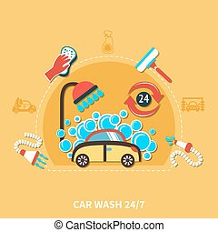 24h Car Wash Composition - Car wash round composition with...