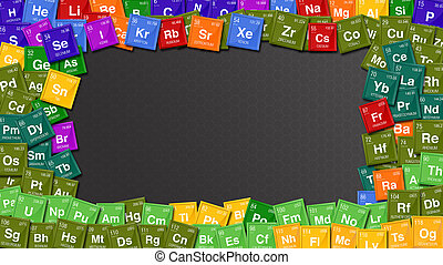 Colorful frame made with symbols of the Periodic Table of...