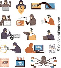 Internet Security Hackers Flat Icons Set - Internet security...