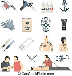 attoo Studio Flat Icons Collection - Tattoo studio designs...